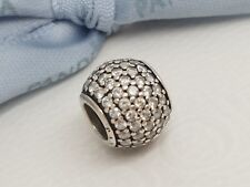Authentic Genuine Pandora Silver Pave Ball Charm with Clear CZ 791051CZ