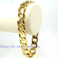 """9"""" 12mm39g MEN'S BIG CURB CHAIN BRACELET 18K YELLOW GOLD PLATED SOLID GEP 4132b"""