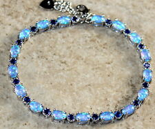 Silver Elegant Blue Fire Opal & Blue Topaz Oval Bracelet