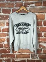 RRL Ralph Lauren M Heavy Terry Military Army Print Gray Work Sweatshirt