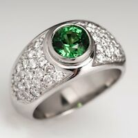 0.75CT Tsavorite & Diamond Pave Set Designer Engagement Ring 14K White Gold Over