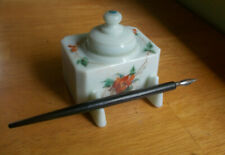 1860s MILKGLASS COVERED INKWELL W/GLASS LID &PENREST WITH EARLY STEEL TIP PEN