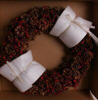 "NIB Pottery Barn Pinecone & Red Berry Christmas wreath 22"""