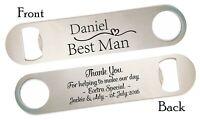 Personalised Bottle Opener Wedding  Best Man Usher Groomsman Thank You Gift