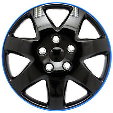 "(1 Piece) 15"" inch Ice Black & Blue Trim Hub Caps Wheel Covers Cap Covers"