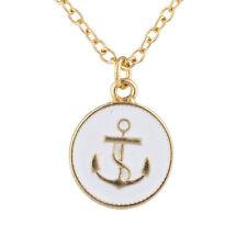 Lux Accessories Goldtone Enamel Anchor Sailor Nautical Charm Pendant Necklace