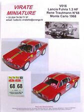 V016 LANCIA FULVIA 1300 HF RALLYE MONTE CARLO 1968 RENE TRAUTMANN DECALS VIRATE