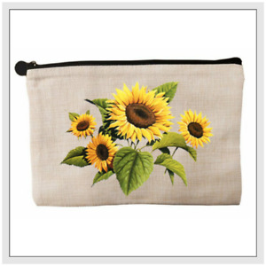 SUNFLOWERS Natural Accessory/Pencil Case/Make Up Bag