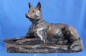 Antique Bronze Figure Of A German Shepherd By Louis Riche,  French Animalier