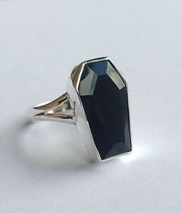 Coffin Ring with Crystal Sterling Silver .925