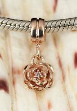 SOLID 9CT 9K ROSE GOLD Cz Flower Charm / Pendant Fit Bead Bracelet /Necklace AUS