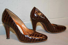 6 N Brown Faux Reptile VTG 50s STILETTO 3 3/4 HIGH HEEL PIN-UP Town Country SHOE