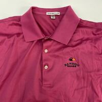 Peter Millar Polo Shirt Men's XL Short Sleeve Pink Hi-Lo Hem Cotton Golf