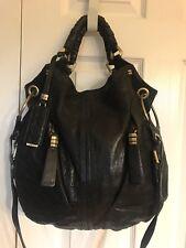 OrYany  Gwen Distressed Pebbled Leather Shoulder Bag Bronze Black Hardware