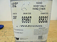 "CM 85832 Hand Chain, 250 Ft, .192"" Diameter, For use with 622 Hoist"