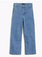 NWT J Crew Mercantile Wide Leg High Rise Jeans Denim Size 27 Cropped Womens