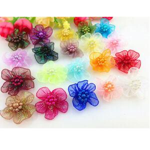 10-100 Pcs Organza Ribbon Flowers Bows w/Beads Appliques Wedding Craft A11