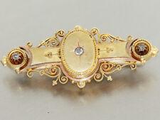 Brosche Gold 585 - Goldbrosche - 14 kt Gold - Stabbrosche, Altschliffdiamanten