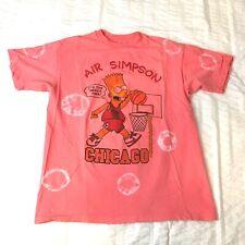 Vintage Bootleg Chicago Air Bart Simpson Custom Tie Dye T Shirt Size M Bulls