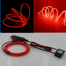3M 12V Red Neon LED Light Glow EL Wire String Strip Rope Tube Car Interior Decor
