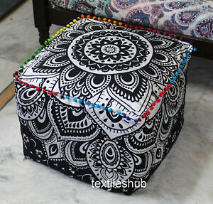 "22"" Square Ottoman Pouf Cover Indian Black Silver Mandala Seating Footstool Case"