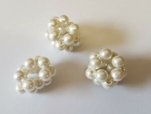 Girls Small Hair Beads Pearl Band Elastic Ponytail Tie Bobbles Unique Rare x 3
