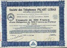 ACTION  TELEPHONES PICART LEBAS 1934