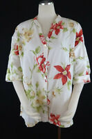 Womens Hot Cotton Floral Linen Cotton Blouse SZ L Button Front White Red Yellow