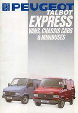 PEUGEOT TALBOT EXPRESS Vans CABINE & Minibus 1991 Uk Originale BROCHURE DI VENDITA