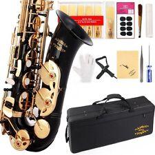 Eb Alto Saxophon w/11reeds 8 Pads Strap Case Care Kit - Black w/Gold Keys
