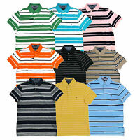 Tommy Hilfiger Mens Polo Shirt Custom Fit Mesh Flag Logo Striped Casual New Nwt