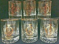 Vintage Ambassador Scotch Shot Glass Set Of 6 Gold Bar Pub Advertising