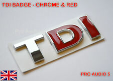 CHROME RED TDI BADGE - Turbo Diesel Car Van Boot VW Golf Passat Polo - UK Post