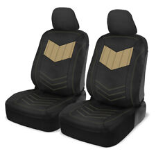Front Car Seat Covers Motor Trend Beige/Black PU Leather Sideless Set Truck SUV