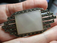 STERLING SILVER ESTATE VINTAGE WHITE MOTHER OF PEARL MARCASITE 2 INCH PIN BROOCH