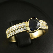Eleganter Saphir Brillant Ring mit ca. 2,00 ct.   6,0g 750/- Gelbgold