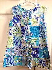 The Groovy Gator 4T Girls Blue Tropical Patch Sleeveless Ruffle Shift Dress 4