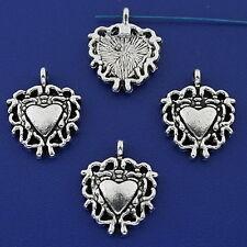20pcs dark silver tone heart charms h3179