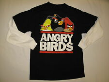 NWT ANGRY BIRDS T shirt long sleeve BOY youth size L (14/16?) black