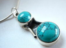 New Turquoise Double Gem 925 Sterling Pendant India
