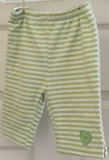 Green and white striped stretch pants with an embroidered heart size 0-3 months!