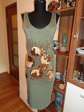 ILSE JACOBSEN OLIVE GREEN GOLDEN SEQUINS STRETCH JERSEY TANK DRESS-M,12-UK
