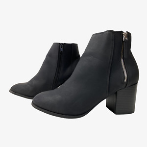 PAPAYA Ladies Womens Boots Size UK 7 Eu 41 Black Ankle Boots