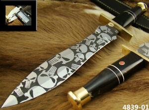 CUSTOM 14.1 HANDMADE ACID ETCH STAINLESS STEEL HUNTING DAGGER KNIFE (4839-1