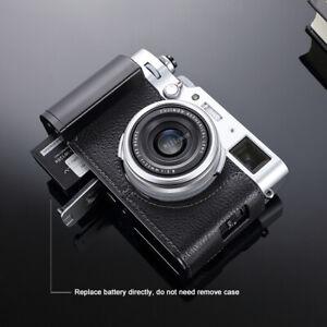 Genuine Leather Half Camera Case  Metal Grip Dovetail Plate For FUJIFILM X100V