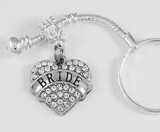 Bride keychain  Bride to be key chain Wedding key chain Crystal Heart