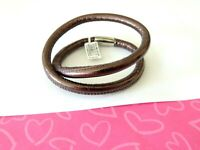 Brighton Woodstock Bronze WOODS Leather Charm Bracelet DOUBLE New tags $50