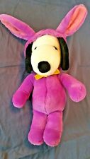 """Snoopy Easter Bunny Plush Wearing Rabbit Costume 15"""" Tall Determined Productions"""