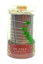 20 Christmas Tree Shape LED Lights Green Battery Operated Silver Wire 2.9M