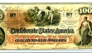 """$100 """"SLAVES HOEING""""(CONFEDERATE) $100 (CRISPY)       DOUBLE CSA WATERMARK!!!!!!"""